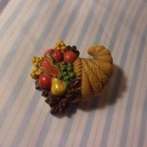 Hallmark Plastic Cornucopia Thanksgiving Pin